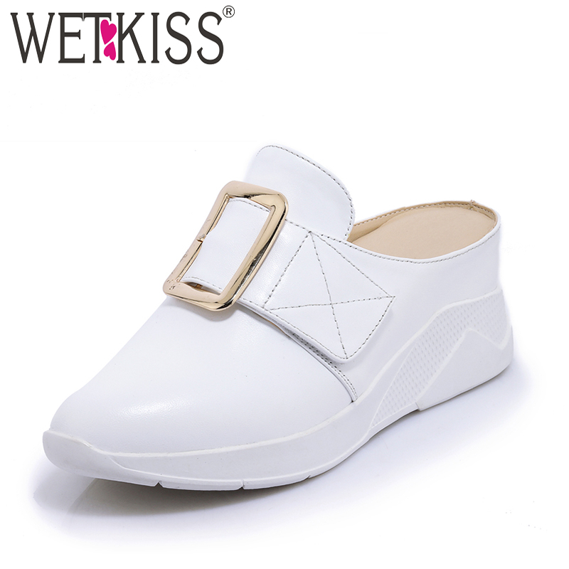 WETKISS High Heels Casual Mules Shoes Elevator Cow Leather Summer Fashion Women Pumps Round Toe Buckle Wedges Platform Footwear