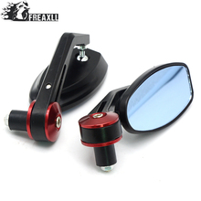 Pair 7/8 22mm Motorcycle Handlebar Bar End Mirrors Oval Blue Glasses Side Rear View Mirror Universal For YAMAHA YZF450 R1 R3