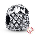 925 Sterling Silver Sparkling Tropical Pineapple Clear CZ Charm Fit Bracelet DIY Accessories Jewelry