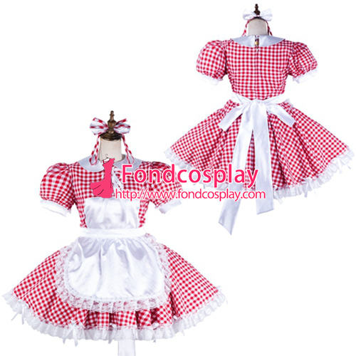 Sissy maid cotton dress lockable Uniform cosplay costume Tailor-made[G2128]