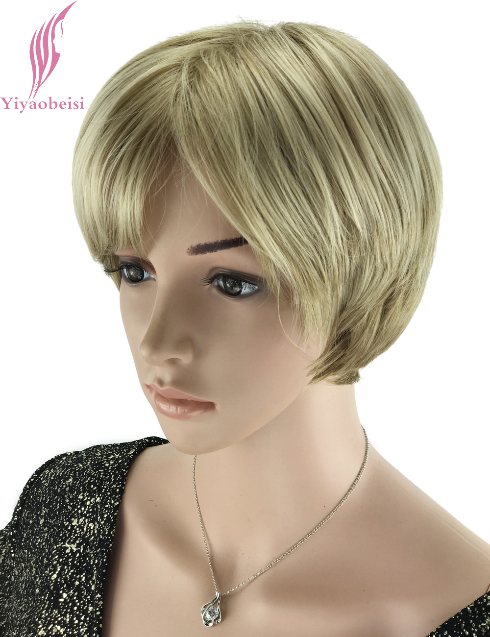 Yiyaobess 6inch Highlights Hair Heat Resistant Synthetic Straight Hairstyle Blonde Short Wigs For Black Women Free Ship