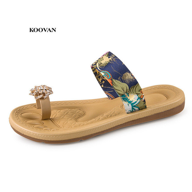 Koovan Women Slippers 2018 Summer New Roman Style Sandals And Slippers  Fashion Fabrics Diamonds Flip-flops Flat Women Sandals 23770b1c45d9