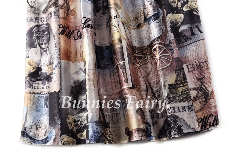 Vintage Retro Lady Newspaper Print High Waist Pleated Flare Midi Skirt 21