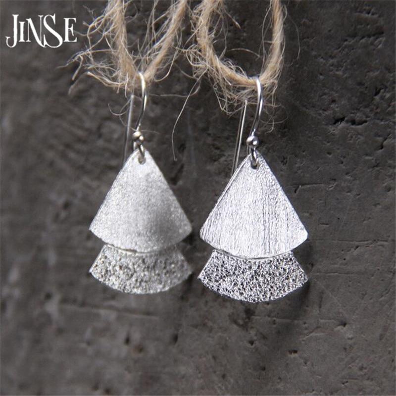 JINSE Wholesale New Bridal Jewelry S925 Sterling Silver Double Fans Tassel Design Pure Silver Dangle Earrings 15mm
