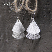 JINSE Wholesale New Bridal Jewelry S925 Sterling Silver Double Fans Tassel Design Pure Silver Dangle Earrings 15mm