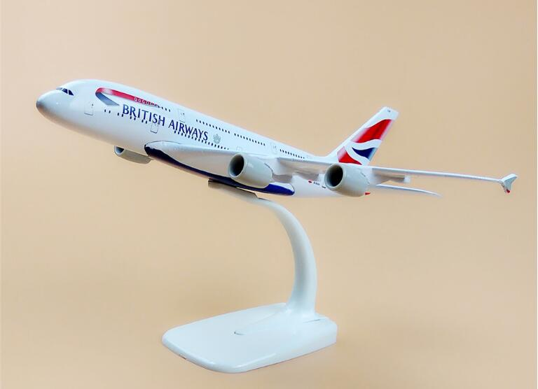 20cm Air British Airways <font><b>Airbus</b></font> 380 <font><b>A380</b></font> Airlines Plane <font><b>Model</b></font> W Stand Metal Airplane <font><b>Model</b></font> Aircraft Gift image