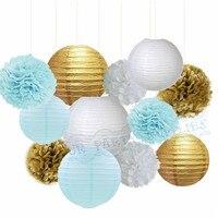 1 Zestaw Baby Blue White Gold Bibuły Pom Pom Papieru latarnie dla Mrożone Tematyce Impreza Dla Przyszłej Panny Młodej Boy Baby Shower Dekoracji