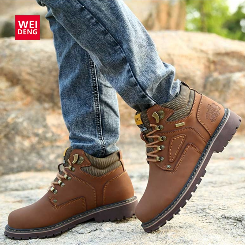 WeiDeng Men Work Ankle Chelsea Boots Casual Genuine Leather Climbing Lace up Shoe Breathable Military Autumn Winter