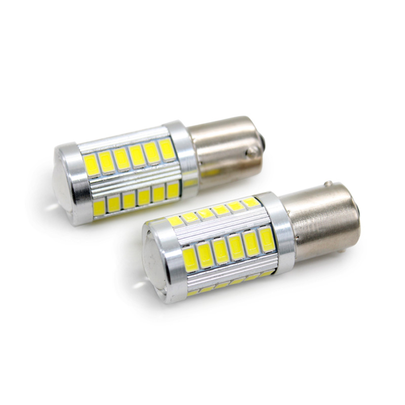 2Pcs/Lot SUNKIA 1156 BA15S P21W 5730 5630 33SMD LED Bulb With Len Car Tail Brake Lights  ...