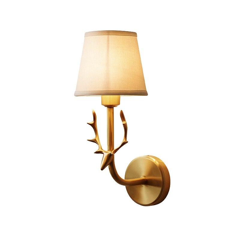 클래식 전체 구리 사슴 머리 벽 램프 복도 벽 조명 발코니 홈 조명 luminaire 팔러 바 빛 벽 sconce wa088