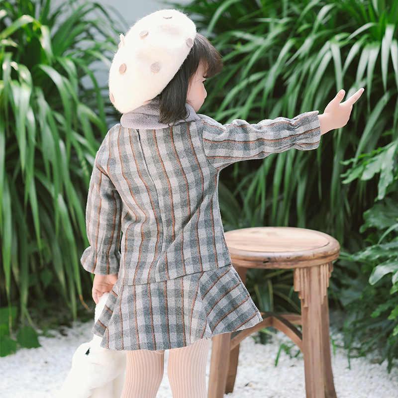 新しいのドレス秋冬子供服長袖チェック柄毛深いドレススタイリッシュなプリンセスドレスとスカーフの装飾