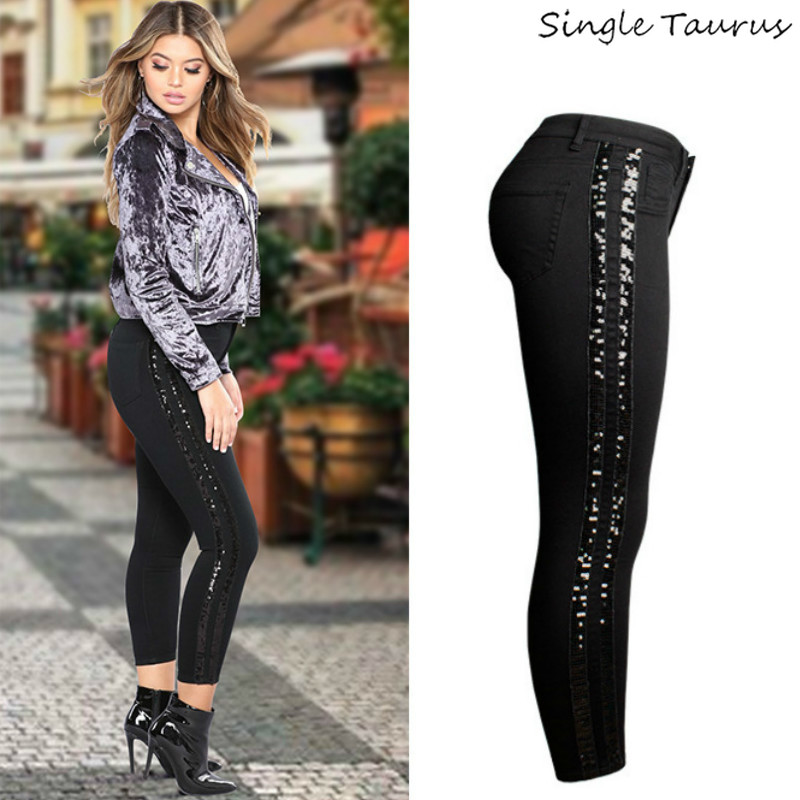 Sequin Side Stripe Black Skinny Jeans Women High Street England Slim Push Up Denim Pants Mujer Fashion Spliced Vaqueros Mujer