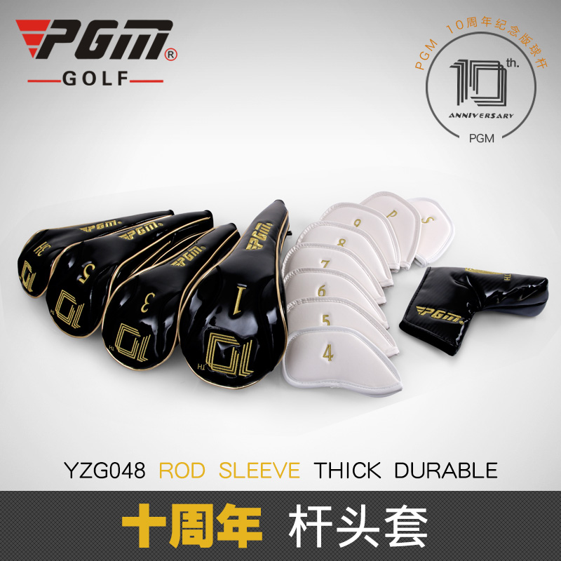 PGM Golf Club New Headcover Set Putter Iron Headgear Mens 10th Anniversary Wooden Pole Sleeve Pushstick Sleeve Complete Set