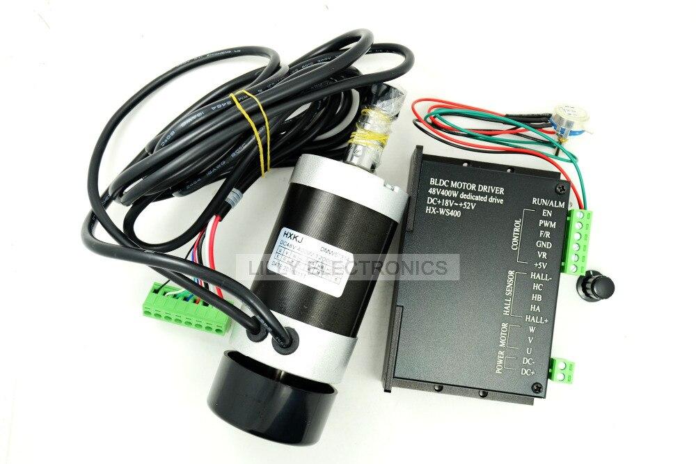 1 conjunto 400 W 48 v 12000 RPM Brushless refroidi par Air moteur à courant continu avec pilote haute vitesse longue