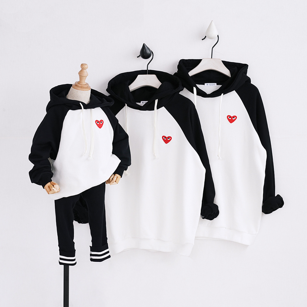HT2011 Spring Autumn Winter Clothing Mother Baby Father Costume Family Matching Outfits Clothes Kids Sweatshirt Keep Warm Hoodie