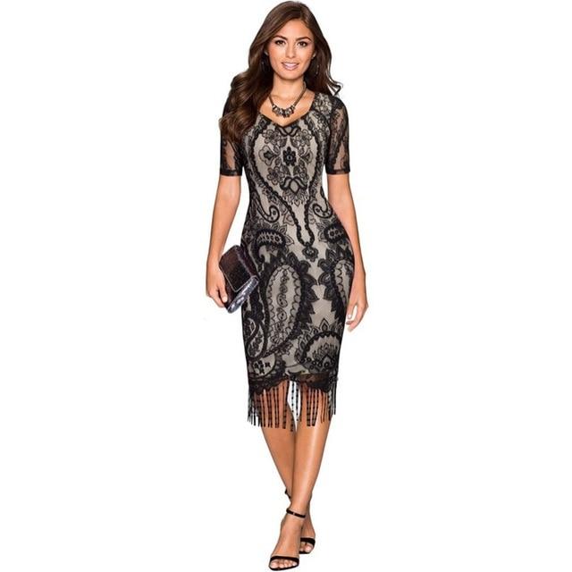 Sexy Women Plus Size Sxxl Party Dress Robe Femme 1920s Tassel