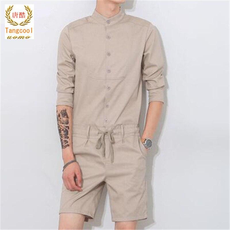 Тан cool2018 Лето Уникальный комбинезон Для мужчин рубашка с коротким наборы один Комбин ...