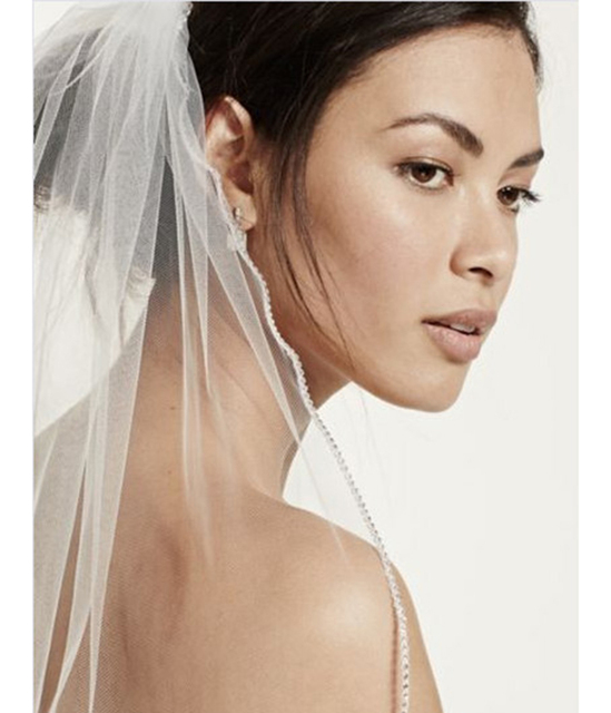 Elegant Beaded White Ivory  Wedding Veils One Tier Sparkling Rhinestone Edged Veil With Comb