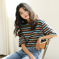 2018 אביב הקיץ החדש קוריאנים משלוח חינם מותאם אישית ירוק אדום חולצת פסים כל התאמת נקבה האופנה Loose חולצות טי מקרית