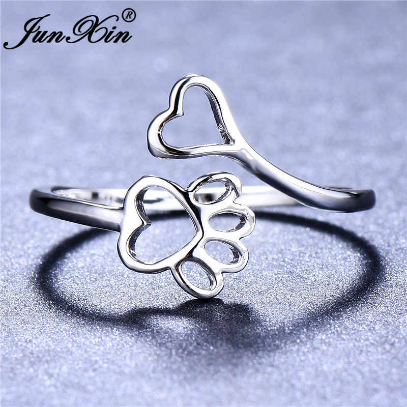 Śliczne kobiece niedźwiedź pies łapa kota pierścień 925 srebro otwarte serce pazur cienki pierścień ślad obrączki dla kobiet