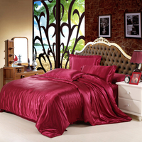 Pure Color Tiansi Four piece Bed Cover And Bedspread Made Of Imitation Silk Satin 3/4 Piece Bedspread