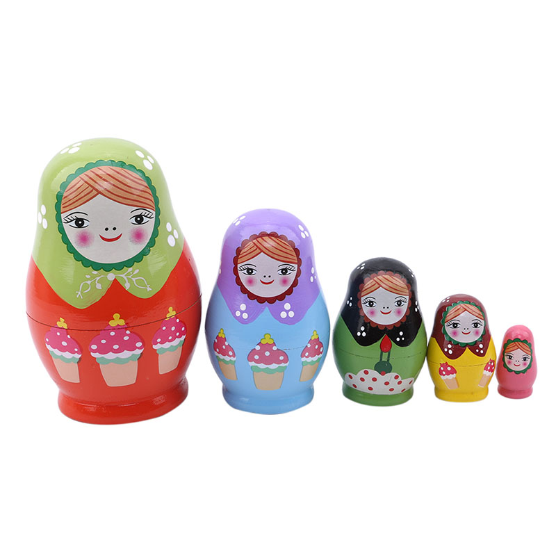Russian Matryoshka Babushka Wooden nesting dolls toy hand painted 5pcs