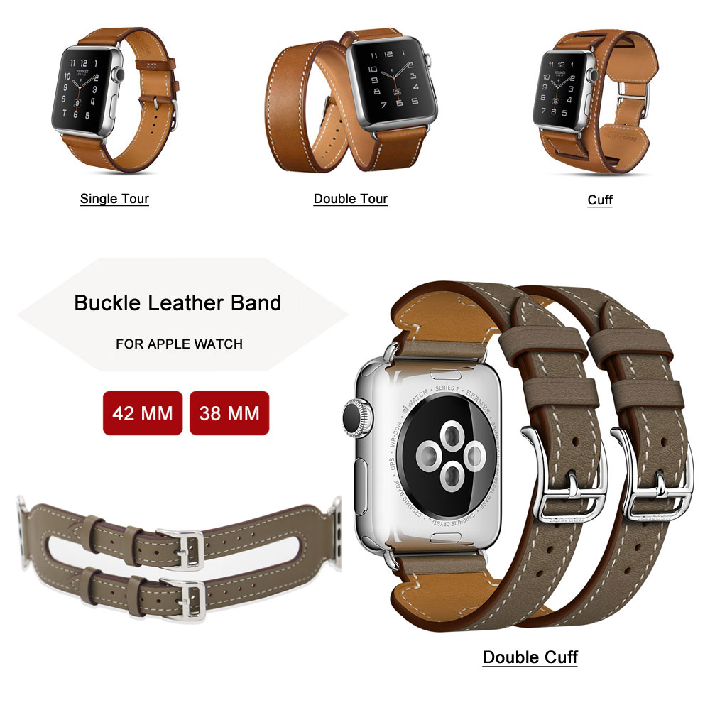 Pulsera de cuero de doble vuelta de moda Correa de cuero extra larga Correa de cuero genuino para Apple Watch Band 42mm 38mm Series 3/2/1