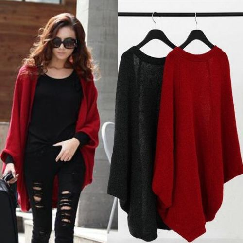 Fashion Women Long Sleeve Knitwear Batwing Sweaters Jumper Cardigan New Casual Sweater Tops
