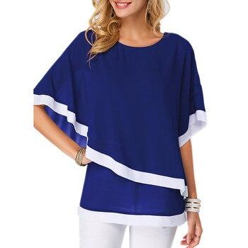 LOSSKY Plus Size S-5XL Chiffon Patchwork Irregular Blouse Shirts Casual Sexy Batwing O Neck Women Summer Blouses Tops Shirt New