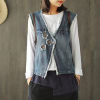 New Spring Vest Fashion Women Loose Casual Denim Coat Tops Cardigan Button V neck Embroidery Patchwork New Vest Coat 2019