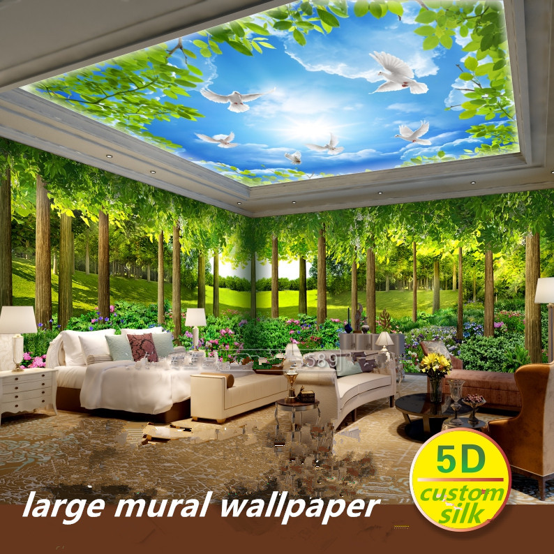 Custom 5D Silk Large Mural Wallpapers 3d Forest Nature Landscape Wallpaper Restaurant Green Tree Mural Theme Room Wall Covering