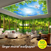 цены Custom 5D silk large mural wallpapers 3d forest nature landscape wallpaper restaurant green tree mural theme room wall covering