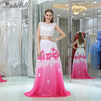 modabelle White Pink Gradient Prom Dresses Two Piece Lace Top Sexy Colorful vestido de gala Ombre Evening Party Gowns 2018 New