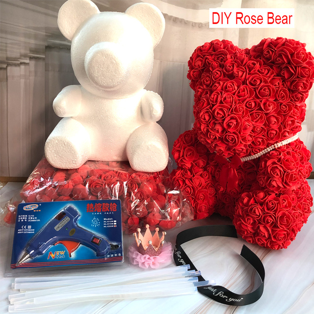 Foam Bear Mold PE Rose Artificial Flower Heads Rose Bear White Mold and Gift Box DIY Rose Bear Accessories Bag