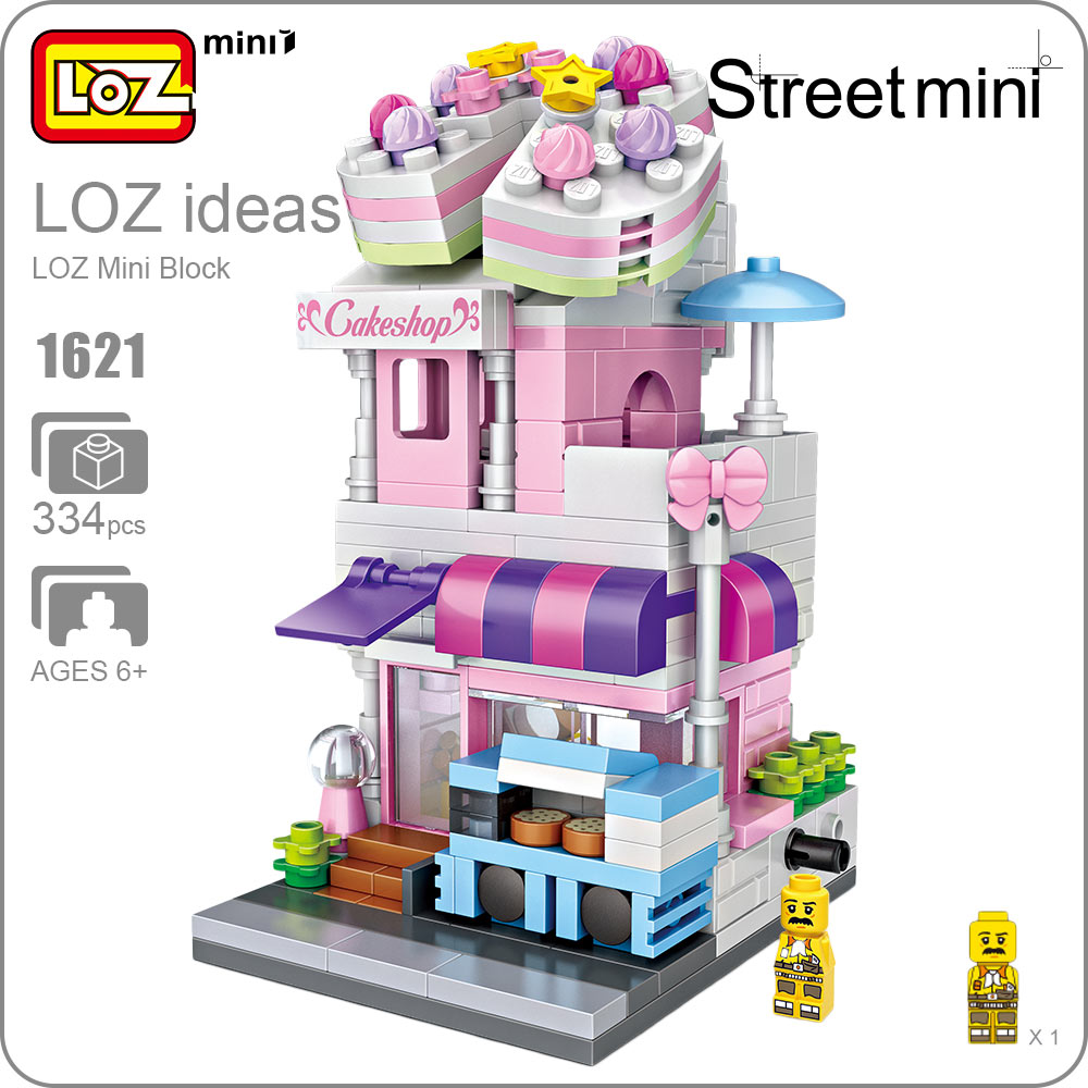 LOZ Mini Blocks Building Blocks Architecture Toy Cake Shop City Series Mini Street Model Store Shop Cakeshop DIY Bricks Fun 1621 a toy a dream lepin 15008 2462pcs city street creator green grocer model building kits blocks bricks compatible 10185