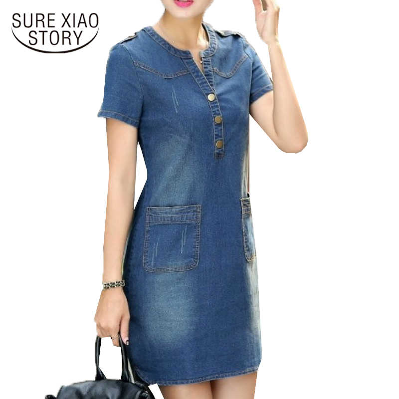 2018 Новое поступление плюс размеры v-образным вырезом Твердые Джинсовые платья летние женские джинсовые платья с короткими рукавами свободные платья 176A 25
