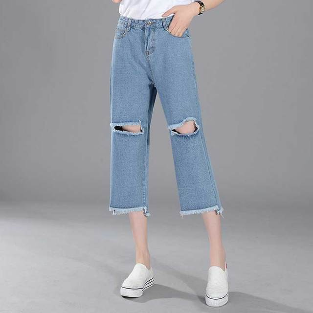 Women s BF Style Wide Leg Jeans Ankle Length Cut Off Boyfriend Denim Pants  Ripped Holes Loose 72738d96e5b7