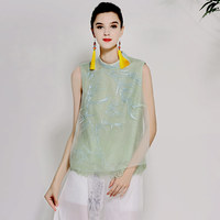 Women's blouse shirt spring and summer runway new retro folk embroidery silk organza ladies green shirt sleeveless top M XL