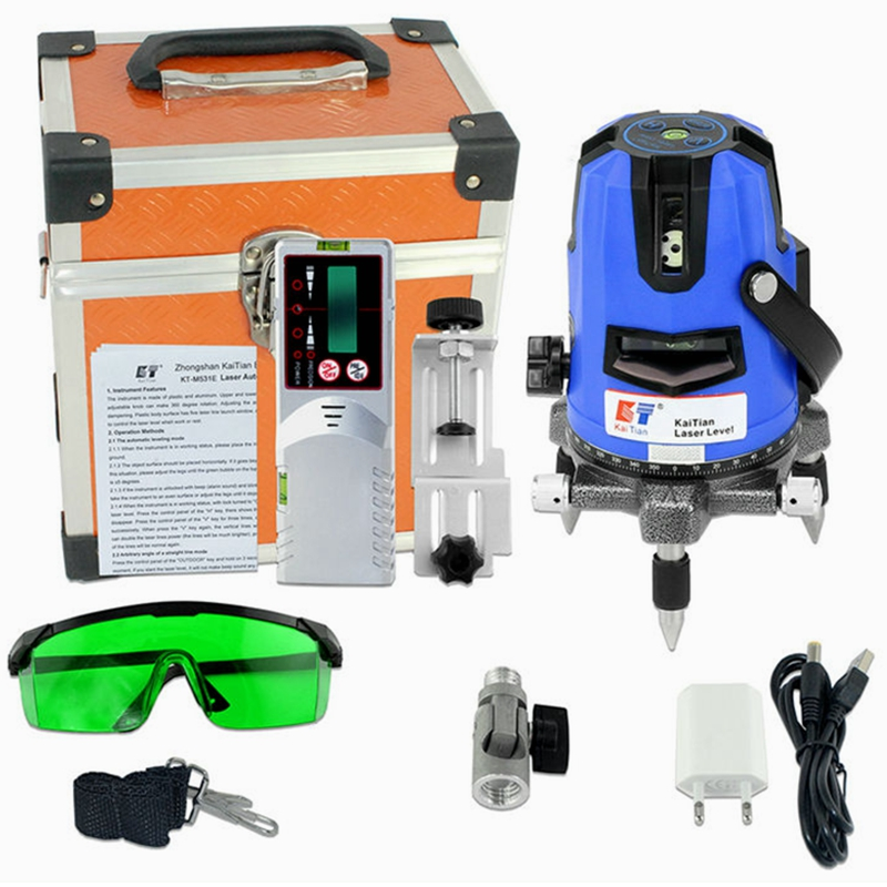 KaiTian Green Laser Level Self Leveling Automatic Receiver Cross 360 Horizontal 532nm Beam Vertical Livello Laser
