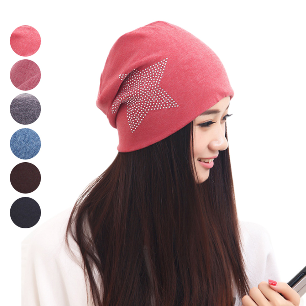 Fashion Casual Women Winter Beanie Skullies Hat Outdoor Crystal Ski Caps Thick Warm Hats -MX8 men s skullies winter wool knitted hat outdoor warm casual solid caps for men caps hats