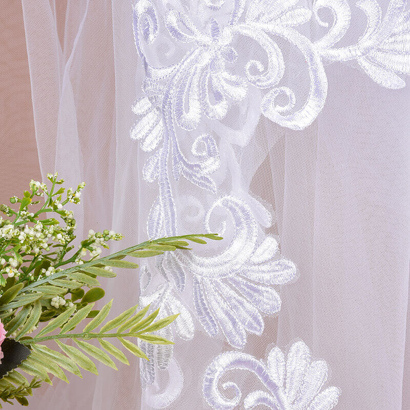Voile Mariage 3m One Layer Wedding Veil With Comb White Lace Edge Bridal Veils Ivory Appliqued Cathedral Wedding Veil