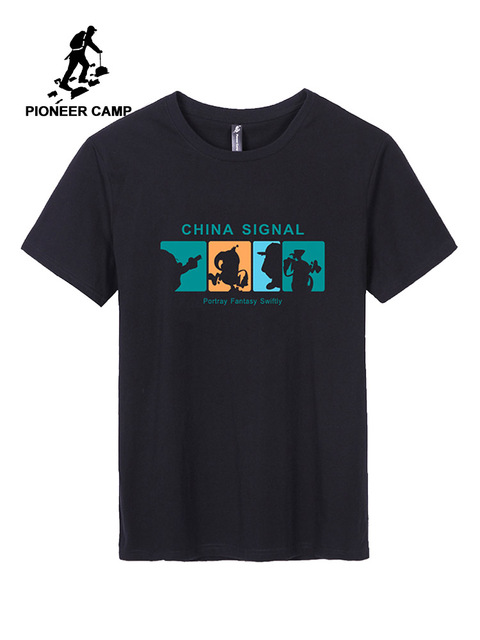 パイオニアキャンプ 2019 新メンズ Tシャツファッション動物キリンプリント tシャツの男性の男性は半袖夏カジュアル tシャツ