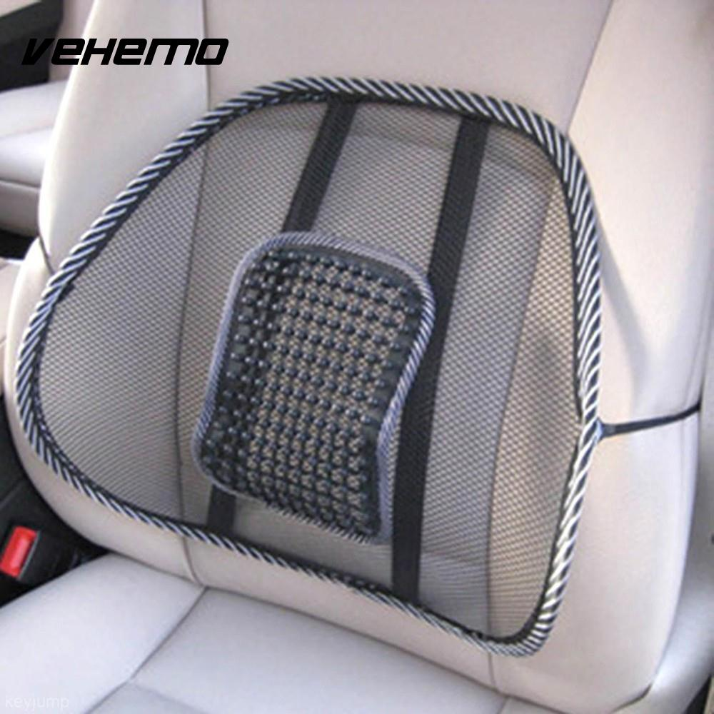 Black Mesh Cloth Car Seat Cushion Lumbar Waist Support Lumbar Pillow Automobiles Office Chair Relief Back Pain Auto Accessories At All Costs Interior Accessories