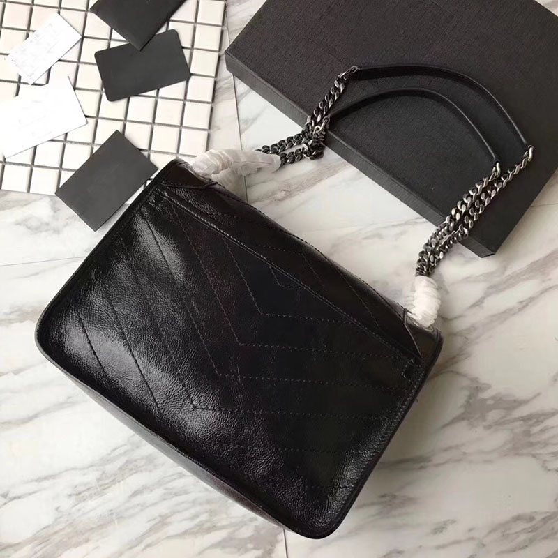 Luxury handbag vintage leather shoulder bag brand Top quality monogram medium calfskin purse real leather niki chain bags