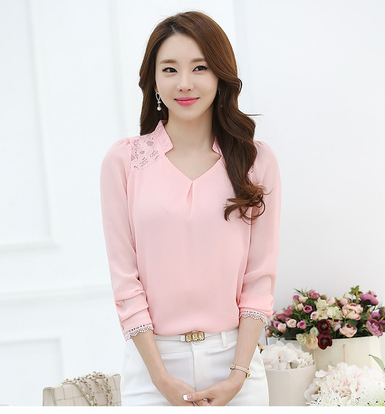 New Spring Summer Solid Women Blouse Long Sleeve Chiffon Shirt