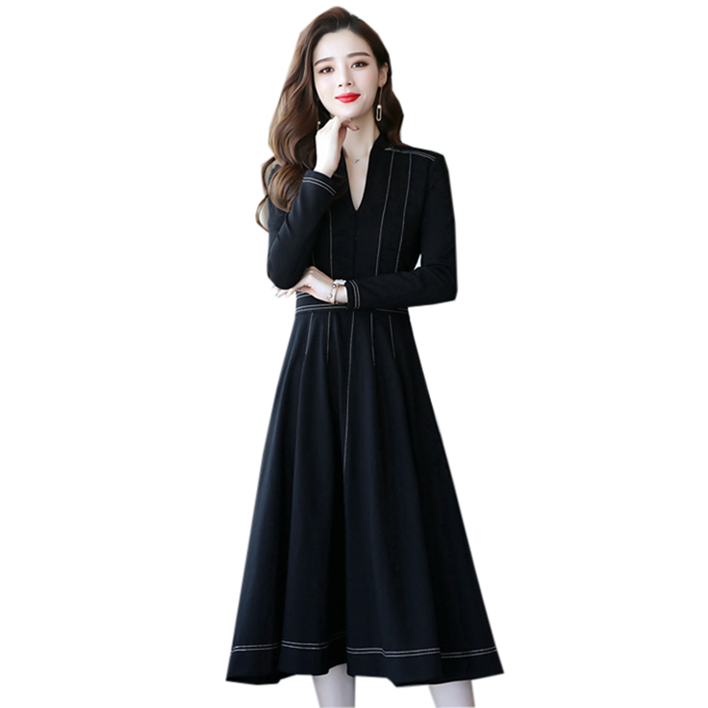 De Femmes Fond Automne Hiver Robe Mode Dames À V Robes Noir Yp2032 Nouveau Manches Parti Longue Longues Élégantes cou 6yfg7b