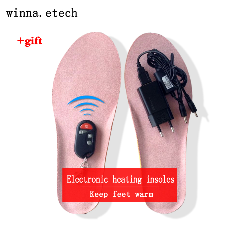 2017 new heating insoles with lithium battery winter charge remote control insoles boots shoes insoles pink SIZE EUR 41-46#