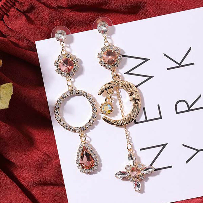 Luxury Sweet Asymmetric Orange Crystal Rhinestone Round Circle Moon Star  Long Drop Earrings for Women Wedding Charm ... b7d570ec756e