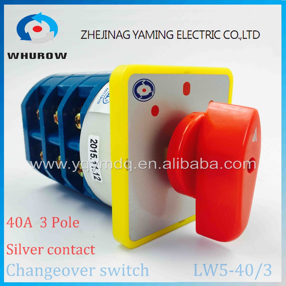 Rotary switch 3 postion 550V 40A 3 poles red dot LW5-40/3 main universal changeover switch manual silver contact use for boat 660v ui 10a ith 8 terminals rotary cam universal changeover combination switch