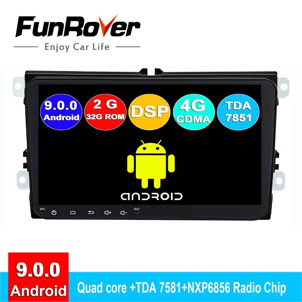 FUNROVER android 9.0 2 din voiture dvd multimédia pour Volkswagen Passat B7 B6 Golf 5 Polo radio gps navigation navi stéréo lecteur 9